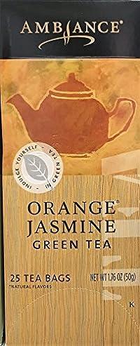1.76oz Ambiance Orange Jasmine Green Tea, 25 Tea Bags (One Box Per Order)