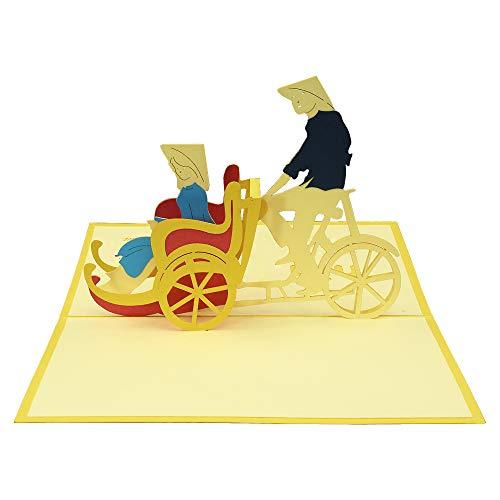 3D Karte - Cyclo - Popup Grußkarten für Geburtstag, handgefertigte Karten, Neujahr, Weihnachten, Urlaub, Glückwunsch, Bastelpapier Karte (4 Wort-karte Grad)