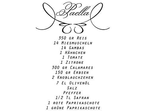 Wandtattoo Küchen Rezepte Paella Nr 1 Kochrezepte Küchendeko Wandsticker Wandaufkleber Farbe Rot, Größe 75x108