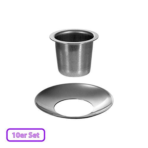 Kerzenhalter konisch Silber 22mm - optional mit Tropfenfänger - die perfekte Kerzentülle für Spitzkerzen, Größe:Tülle + Fänger 10er Set
