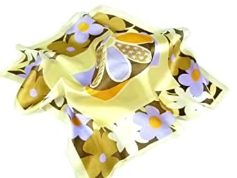 Silk Neck Scarf in Pale Yellow with Lilac and Orange Flowers - 50cm square