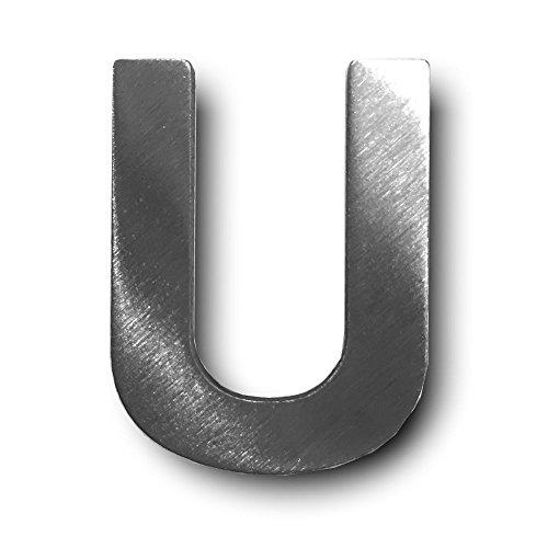 Metall-Buchstabe U, gebürstetes Edelstahl – Höhe 4 cm, Zimmerbeschriftung, Bürobeschriftung, Kinderzimmer, Wandbeschilderung – selbstklebend