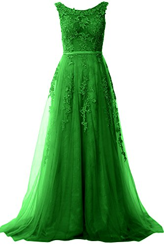 MACloth Elegant Boat Neck Lace Long Prom Dress Vintage Wedding Party Formal Gown green