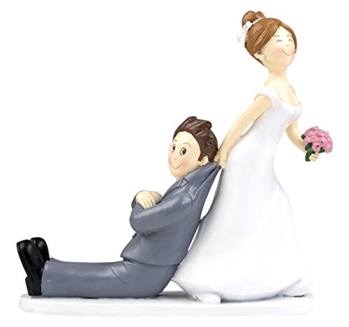 Mopec Y967 - Wedding cake figure bride and groom yes or yes pulling the jacket, 19 cm