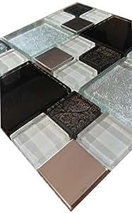 Glasmosaik Edelstahl Matte Schwarz Weiss Silber 15x15 Mosaik Fliesen Metall M711
