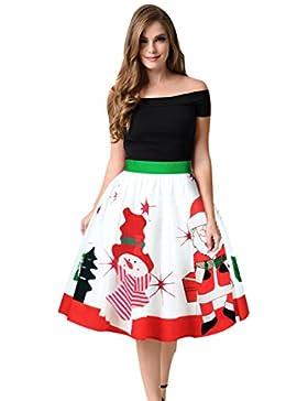 CTOOO Impresión Digital De Navidad Faldas De Cintura Salvajes Mujeres De Falda Plisada