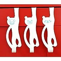 Over Door Animal Door Hooks - 3 Pack - Bear Monkey Cat for Clothes Towels Accessories Sturdy Metal Over Door Hooks