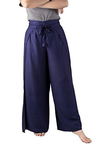 Lofbaz Femme Plain Palazzo Fisherman Pants Wrap Rayonne Unie Bleu foncé Taille Unique
