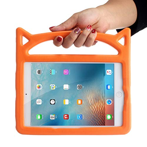 QHJ Hülle für ipad Mini 5 4 2019,Leichtes Gewicht Schock Beweis Griff Freundlich Cabrio Stand Kinder Fall für iPad Mini, Mini 5 (2019), Mini 4 (Orange) Cabrio Stand