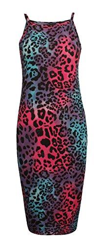 Fast Fashion Frauen Kleid Strappy Gedruckt Bodycon Lange Cami Midi Dehnbar Mehrfarben Leopard