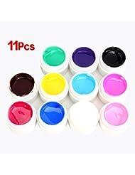 SODIAL(R)Lot de 11 gels uv nacre pr ongles faux manucure 5ml