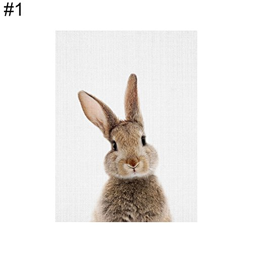 ZHOUBA Cute Animal Kaninchen Leinwand Poster Ohne Rahmen Gemälde Art Büro Raum Wandbild