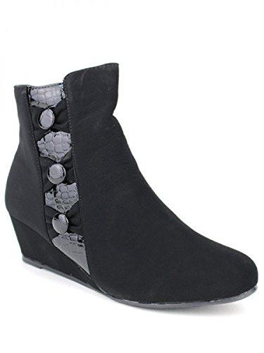 Cendriyon, Bottine Noire Bi matière CINK Chaussures Femme Noir