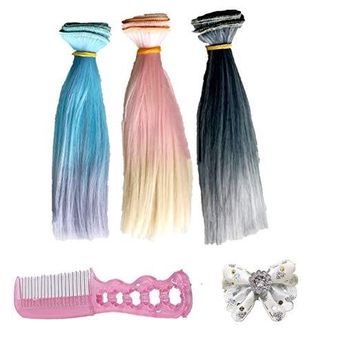 Fully 3stk. Puppen-Perücke Glattes Haarteil Haarperücke 25 X 100CM/9.8 X 39 + 2 X Haarklammer + 1 X Kamm Kostüm Für Puppen DIY