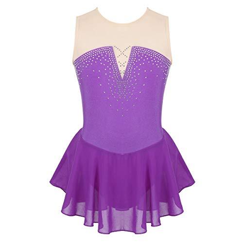 dPois Mädchen Ärmelloses Eiskunstlauf Kleid Tanzkleid Einteiler Leotard mit Strass Tanzanzug Kostüm für Training Bühnen Wettkampf Violett 134-140/9-10Jahre (Kostüm Für Eiskunstlauf)