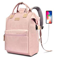 LOKASS Laptop Backpack 15.6 Inch Wide Open Computer Backpack Laptop Bag College Rucksack Water Resistant Business Travel Backpack Multipurpose Casual Daypack with USB Charging Port for Women Men,Pink