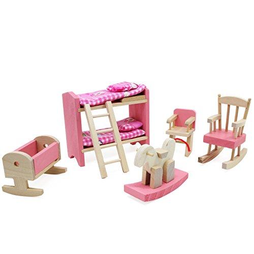 Keesin mini casa di legno mobili rosa gioco di bambole giocattolo per bambini regalo per bambini giocattolo educativo casa delle bambole (letto a castello-10 pezzi)