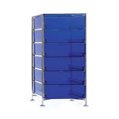 Kartell 2041L7 Container Mobil, 6 Schubladen, blau