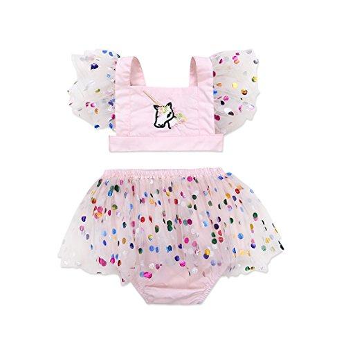Mädchen Kleidung Set Einhorn Oberteile Bluse Top + Tutu Rock Kleid Babykleidung Set Outfits (Niedliche Schwester Kostüme)