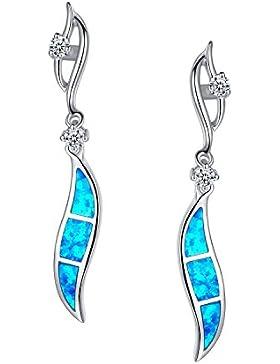 Arco Iris Schmuck Damen-Ohrringe Sterling Silber Blau und Grün Feueropal und Zirkonia