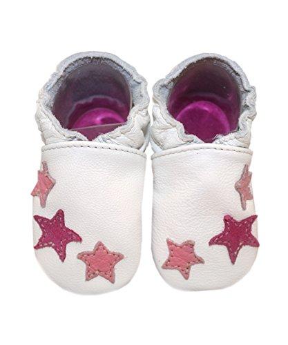 HOBEA-Germany Leder Krabbelschuhe Babyschuhe Sterne in verschiedenen Farben von baBice, Schuhgröße:16/17 (0-6 Monate);baBice Schuhe:Stern grau Sterne pink