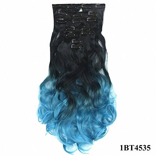 PrettyWit 18-20 Pouce Long Clip dans les Extensions de Cheveux Ombre Réel Épais Double Trame Plein Tête Postiche Ondulé Bouclés pour les Femmes 7 pcs/ensemble (Noir à Bleu Sarcelle 1BT4535)