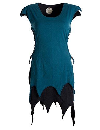 Vishes - Alternative Bekleidung - Ärmellose Zipfeltunika im Lagenlook mit seitlicher Schnürung Biobaumwolle schwarz 36-38 (M)
