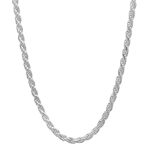 2.6mm Solid 925 Sterling Silver Diamond-Cut Rope Link Italian Chain,