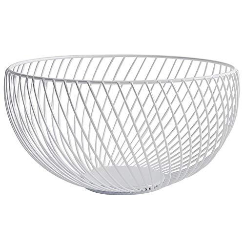 Storage Baskets Black Metal Art Snacks Candy Fruit Basket for Living Room Desktop Kitchen Organizer Basket,White