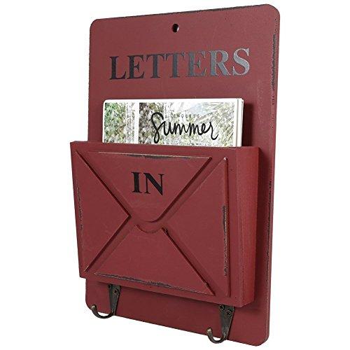 Cassetta postale in legno, goodchanceuk cassetta di raccolta posta ordinata a muro con ganci per lettere, giornali, opuscoli.