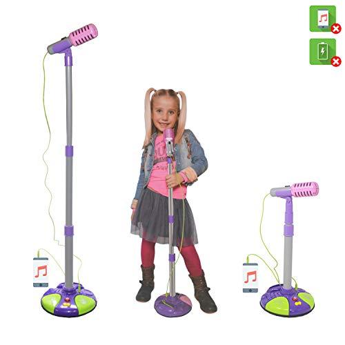 DRULINE Standmikrofon Kinder Mikrofon Mikrofonstativ Spielzeug Karaoke Soundeffekte Traubenrot (CP-2531)