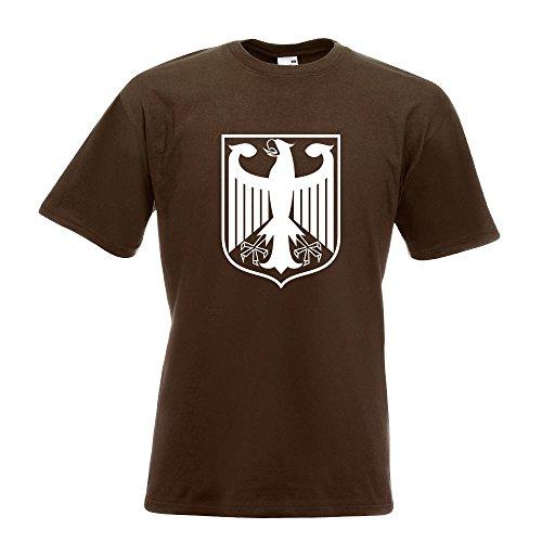 KIWISTAR - Bundeswappen Deutschland Rahmen T-Shirt in 15 verschiedenen Farben - Herren Funshirt bedruckt Design Sprüche Spruch Motive Oberteil Baumwolle Print Größe S M L XL XXL Chocolate