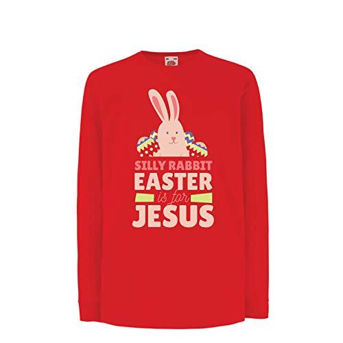 (lepni.me Kinder-T-Shirt mit Langen Ärmeln Albernes Kaninchen, Ostern ist für Jesus, Geschenk der Christen (7-8 Years Rot Mehrfarben))