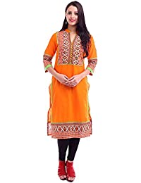 [Sponsored]Printed Orange Kurta With Mirror Work