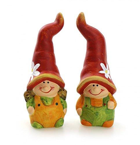 2x Deko Figur Wichtel Zwerg mit langer Zipfelmütze im Set je 9 cm aus Keramik orange grün, witzige Gartenfigur Wichtelfigur Gartenzwerg Pflanztopfdeko