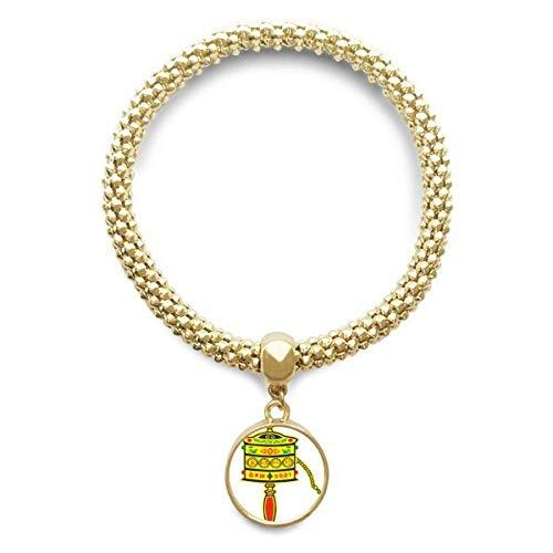DIYthinker Damen Buddhismus Religion Gebet-Rad Sanskrit Goldene Armband Laufende Anhänger Schmuck-Kette