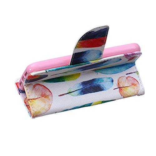 Custodia iPhone SE, Custodia iPhone 5S a portafoglio, Tebeyy Premium, motivo Fiore/Animale/ Personaggi, in pelle PU [chiusura magnetica] con fessura per carte per Apple Iphone SE/5S/5, Cavalletto, Por Feather