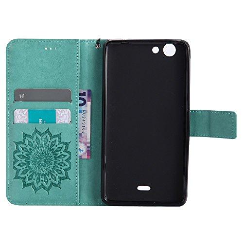 Für Wiko Pulp FAB 4G Fall, Prägen Sonnenblume Magnetic Pattern Premium Soft PU Leder Brieftasche Stand Case Cover mit Lanyard & Halter & Card Slots ( Color : Pink ) Green