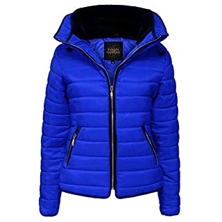Love My Fashions® Womens Jacket Parka Padded Puffer Bubble with Faux Fur Fitted Collar - Ladies Quilted Hood Outwear Long Sleeve Curved Hem Winter Knitted Zip Up Warm Coat for Holidays and Traveling