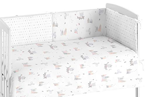 Burrito Blanco Quilt Babybetten und Schutz-007 mit Einem Design von Casitas mit Funny Animals 60x120cm Bett/Gitterbett Quilt + chichonera Qualität, grau und rosa