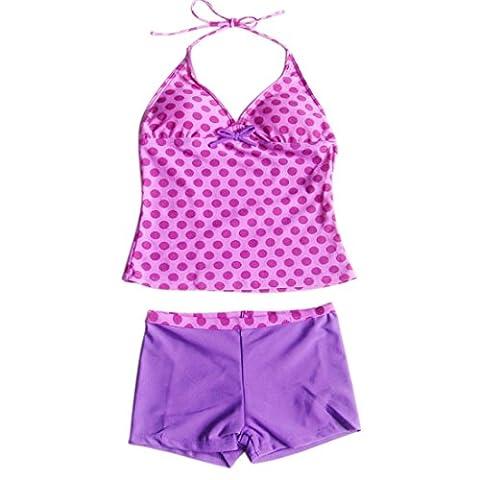 YiZYiF Kinder Mädchen Tankini mit Panty Short Neckholder Badeanzug Mambo Tie-Dye Bikini Set 128 140 152 164 176 (122-128, Zweiteiliger Lila mit