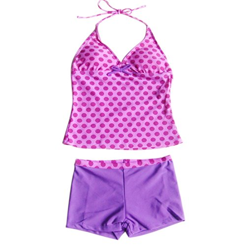 YiZYiF Kinder Mädchen Tankini mit Panty Short Neckholder Badeanzug Mambo Tie-Dye Bikini Set 128 140 152 164 176 (110-116, Zweiteiliger Lila mit (Anzüge Dye Tie)