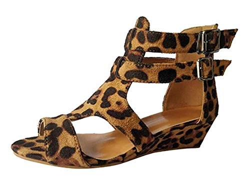 bf480b6b34988 ZYUEER Women Sandals for Summer Flat,Ladies Shoes Wedges Leopard Casual  Strap Roman Simple Flock (4 UK, Brown)