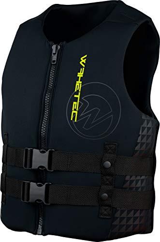 WAKETEC Neopren-Weste Mens, 50-N Prallschutz-Weste, schwarz-Lime, Impact-Vest, Größen XS, S, M, L, XL, XXL, Unisex Wakeboardweste, Jet-Skiweste, Größe:M -