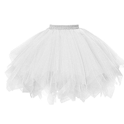 OverDose Damenrock Crinoline Petticoat Ballklei Abendkleid Tutu Tüllrock 50er Kurz Ballet Tanzkleid Unterkleid Cosplay karneval kleid für Rockabilly Kleid(A-Weiß,Freie(Taille: 60-110cm)) (Kostüm Karneval Taille 50)