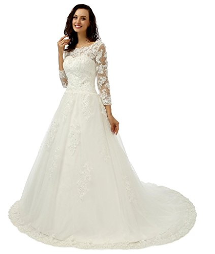 ebelz-womens-appliques-3-4-sleeve-white-lace-wedding-dress-bridal-ball-gown