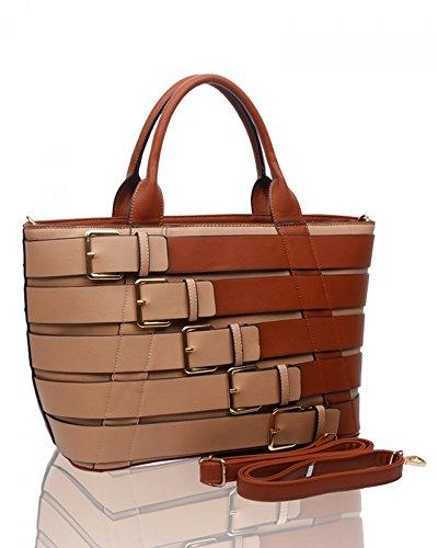 LeahWard® Damen Groß Belt Stil Berühmtheit Tote Handtaschen Schultertaschen Braun/BG