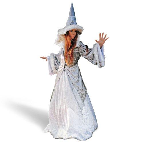 Glitzer Kostüm Fasching Märchen Fee Magierin Damen spitzer Hut weites Kleid Jacke mit Kunstfell - L