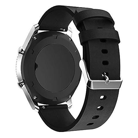 22mm Echtes Leder Uhrenarmband Ersatz für Gear S3 Frontier/Gear S3 Classic Smart Watch (Samsung Galaxy S3 Neo Weiß Preisvergleich)