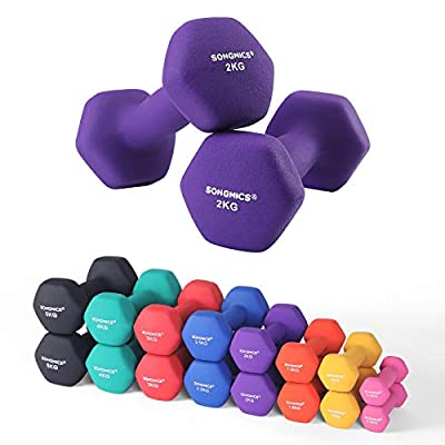 SONGMICS Set of 2 Dumbbells with Vinyl Coating - 0.5kg, 1 kg, 1.5 kg, 2 kg, 3 kg, 4 kg & 5 kg - Varied Weights & Colors, All-purpose Gym and Home Workouts - Waterproof and Non-Slip with Matte Finish by SONGMICS